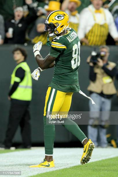 Geronimo Allison of the Green Bay Packers celebrates after scoring a touchdown in the second quarter against the Philadelphia Eagles at Lambeau Field...