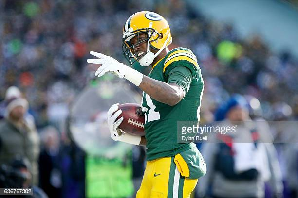 Geronimo Allison of the Green Bay Packers celebrates in the first quarter against the Minnesota Vikings at Lambeau Field on December 24 2016 in Green...