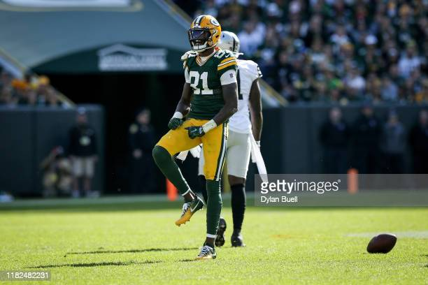 Geronimo Allison of the Green Bay Packers celebrates in the second quarter against the Oakland Raiders at Lambeau Field on October 20 2019 in Green...