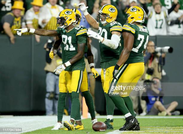 Geronimo Allison of the Green Bay Packers celebrates with teammates after scoring a touchdown in the second quarter against the Philadelphia Eagles...
