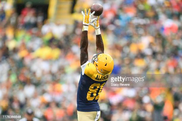 Geronimo Allison of the Green Bay Packers is unable to catch a pass during the first half against the Denver Broncos at Lambeau Field on September 22...