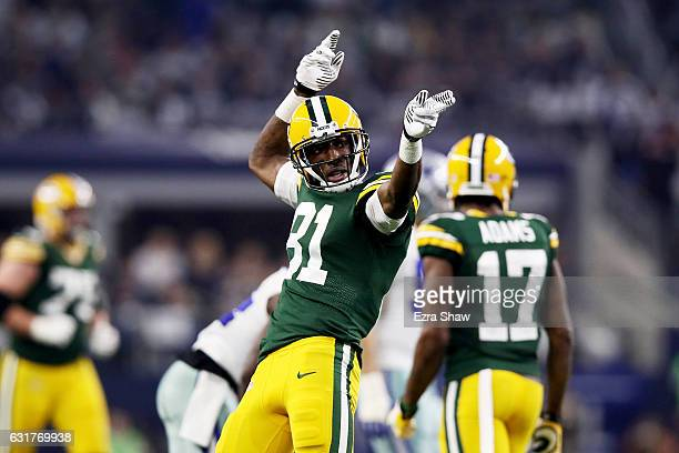 Geronimo Allison of the Green Bay Packers reacts in the first half during the NFC Divisional Playoff Game against the Dallas Cowboys at ATT Stadium...