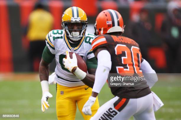 Geronimo Allison of the Green Bay Packers runs the ball against Jason McCourty of the Cleveland Browns in the second half at FirstEnergy Stadium on...