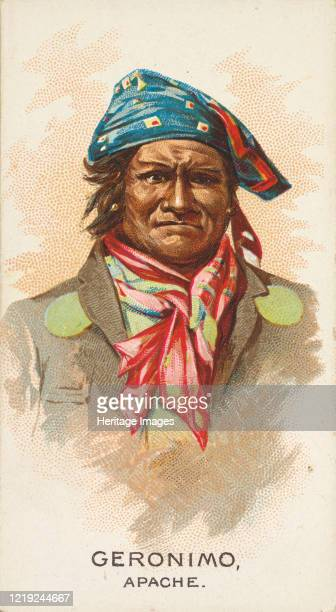 Geronimo, Apache, from the American Indian Chiefs series for Allen & Ginter Cigarettes Brands, 1888. Artist Allen & Ginter.