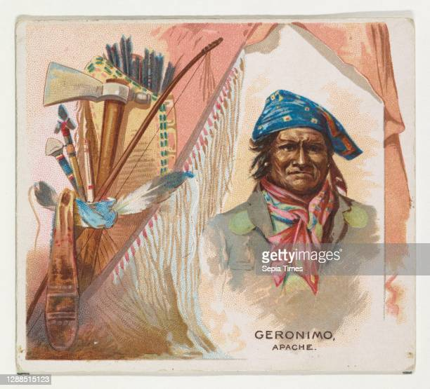 Geronimo, Apache, from the American Indian Chiefs series for Allen & Ginter Cigarettes Commercial color lithograph, Sheet: 2 7/8 x 3 1/4 in. , Trade...