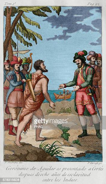 Geronimo de Aguilar Spanish conqueror Aguilar is presented to Cortes after eight years of slavery among the Indians Volume I Drawing by J Altarriba...