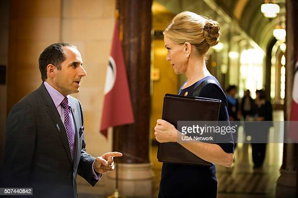 COLONY 'Geronimo' Episode 105 Pictured Peter Jacobson as Proxy Alan Snyder Ally Walker as Helena