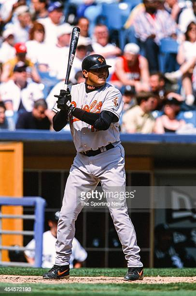 Geronimo Gil of the Baltimore Orioles during the game against the Chicago White Sox on April 14 2002 at Comiskey Park in Chicago Illinois