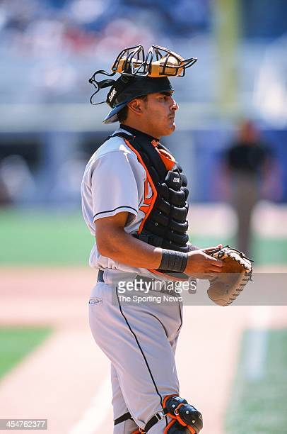 Geronimo Gil of the Baltimore Orioles during the game against the Chicago White Sox on April 15 2002 at Comiskey Park in Chicago Illinois