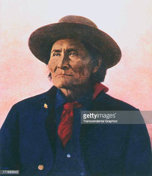 Geronimo is the subject of this postcard image from around 1910 printed in an unknown location