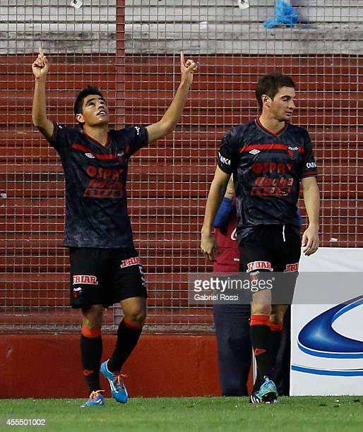 Geronimo Poblete of Colon celebrates the seconf goal of his team during a match between Argentinos Juniors and Colon as part of of Torneo de...