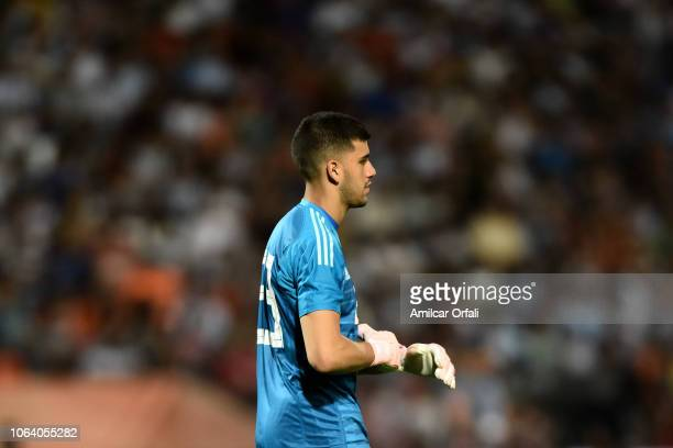 Geronimo Rulli goalkeeper of Argentina looks on during a friendly match between Argentina and Mexico at Malvinas Argentinas Stadium on November 20,...