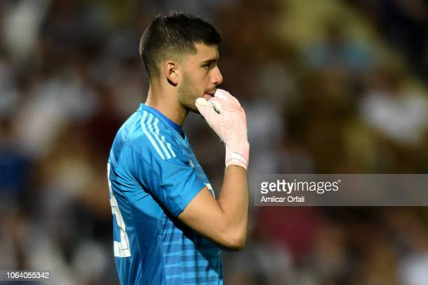 Geronimo Rulli goalkeeper of Argentina looks on during a friendly match between Argentina and Mexico at Malvinas Argentinas Stadium on November 20...