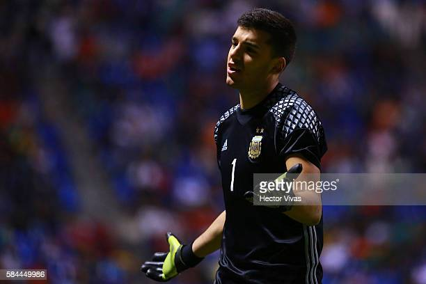 Geronimo Rulli goalkeeper of Argentina reacts during an U23 International Friendly between Mexico and Argentina at Cuauhtemoc Stadium on July 28 2016...