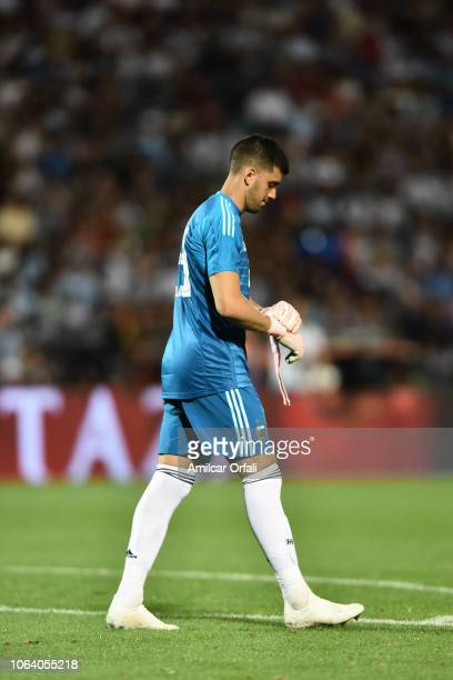 Geronimo Rulli of Argentina looks on during a friendly match between Argentina and Mexico at Malvinas Argentinas Stadium on November 20, 2018 in...