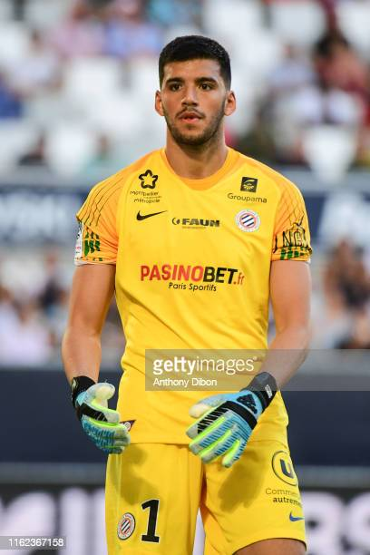 Geronimo Rulli of Montpellier during the Ligue 1 match between Bordeaux and Montpellier at Stade Matmut Atlantique on August 17, 2019 in Bordeaux,...