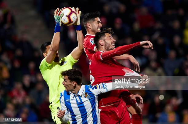 Geronimo Rulli of Real Sociedad catches the ball during the La Liga match between Girona FC and Real Sociedad at Montilivi Stadium on February 25...