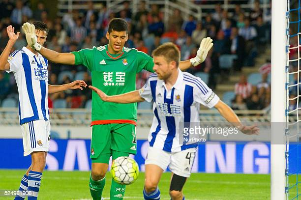 Geronimo Rulli of Real Sociedad during the Spanish league football match between Real Sociedad and Athletic Club at the Anoeta Stadium in San...