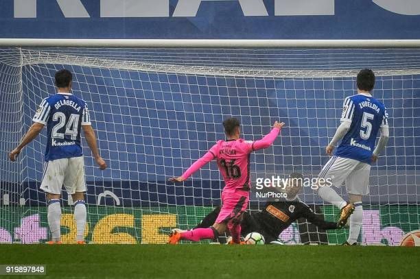 Geronimo Rulli of Real Sociedad during the Spanish league football match between Real Sociedad and Levante at the Anoeta Stadium on 18 February 2018...