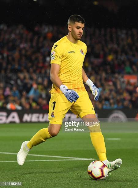 Geronimo Rulli of Real Sociedad runs with the ball during the La Liga match between FC Barcelona and Real Sociedad at Camp Nou on April 20, 2019 in...