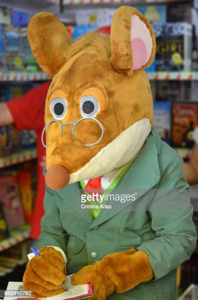 Geronimo Stilton the children's story character created by italian writer Elisabetta Dami attends Book Fair 2017 at El Retiro Park on June 3 2017 in...