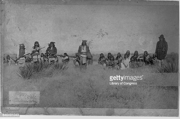 Geronimo the Apache Chief who led resistance against US policy to consolidate his people on reservations seen here with a band of armed warriors 1886