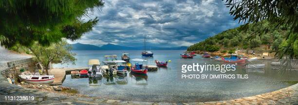 geroplina cove and settlement panorama - volos stock pictures, royalty-free photos & images