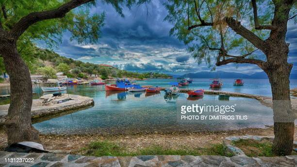 geroplina cove and settlement - volos stock pictures, royalty-free photos & images