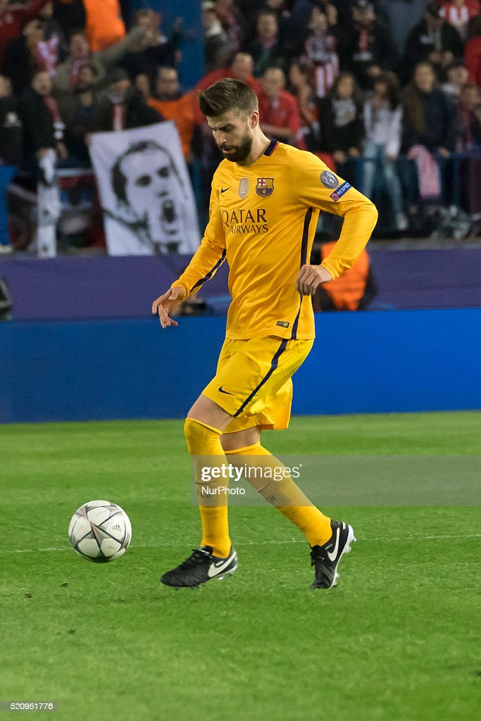Gerrard Pique of Barcelona during the UEFA Champions League quarter final, second leg match between Club Atletico de Madrid and FC Barcelona at the Vincente Calderon on April 13, 2016 in Madrid, Spain.