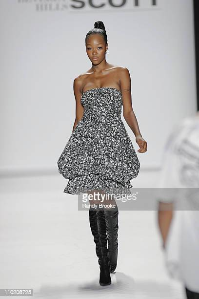 Gerren Taylor wearing Jeremy Scott Spring 2005 during Olympus Fashion Week Spring 2005 Jeremy Scott Runway at Theater Tent Bryant Park in New York...
