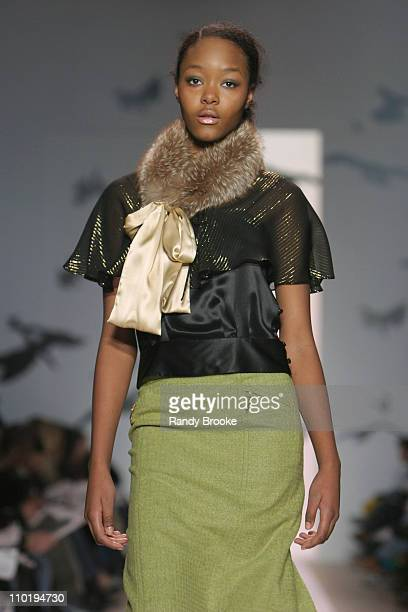 Gerren Taylor wearing Milly Fall 2004 during Olympus Fashion Week Fall 2004 Milly Runway at The Promenade at Bryant Park in New York City New York...