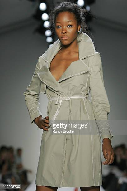 Gerren Taylor wearing Richard Chai Spring 2005 during Olympus Fashion Week Spring 2005 Richard Chai Runway at The Bryant Bryant Park in New York City...