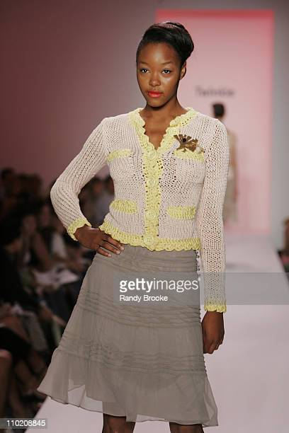 Gerren Taylor wearing Twinkle Spring 2005 during Olympus Fashion Week Spring 2005 Twinkle by Wenlan Runway at The Bryant Bryant Park in New York City...