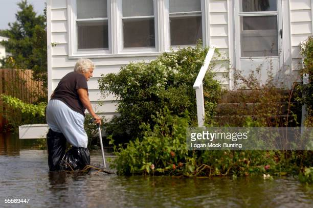 Gerri Cohen wades through the flood waters covering streets in the wake of Hurricane Ophelia on September 15 2005 in Carolina Beach North Carolina...