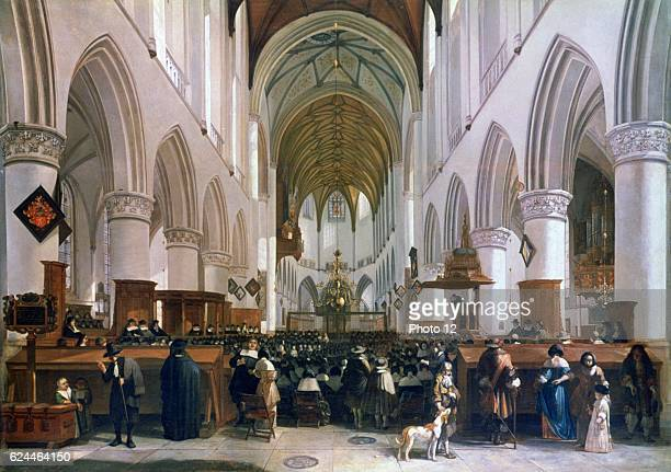 Gerrit Berckheyde Dutch school Interior of the Grote Kerk Haarlem congregation listening to a sermon Oil on oak