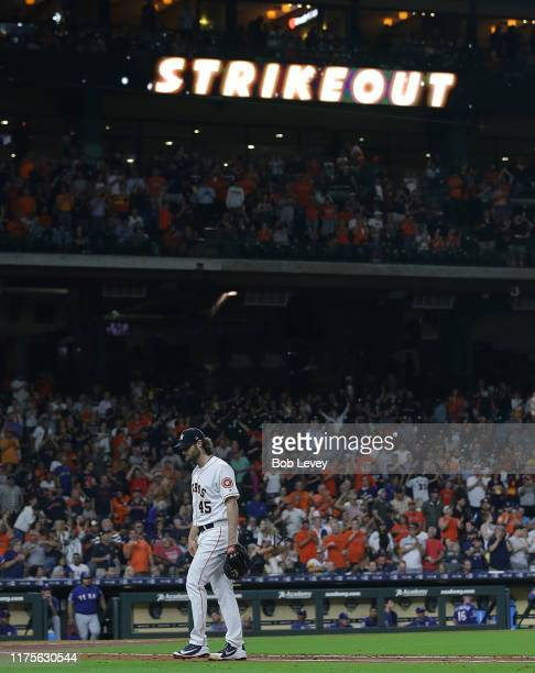 Gerrit Cole of the Houston Astros acknowledges the crowd after reaching 300 strikeouts in season at Minute Maid Park on September 18 2019 in Houston...