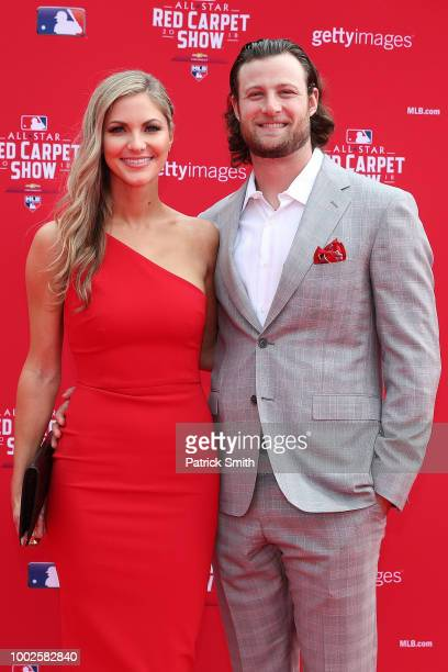 Gerrit Cole of the Houston Astros and guest attend the 89th MLB AllStar Game presented by MasterCard red carpet at Nationals Park on July 17 2018 in...