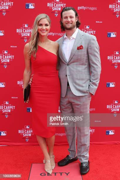 Gerrit Cole of the Houston Astros and the American League attends the 89th MLB AllStar Game presented by MasterCard red carpet with guest at...