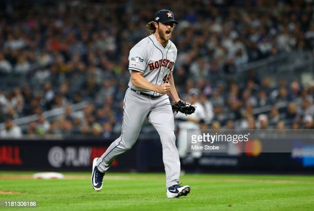 Gerrit Cole of the Houston Astros celebrates retiring the side during the sixth inning against the New York Yankees in game three of the American...