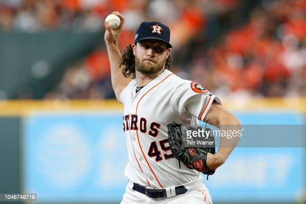 Gerrit Cole of the Houston Astros delivers a pitch in the seventh inning against the Cleveland Indians during Game Two of the American League...