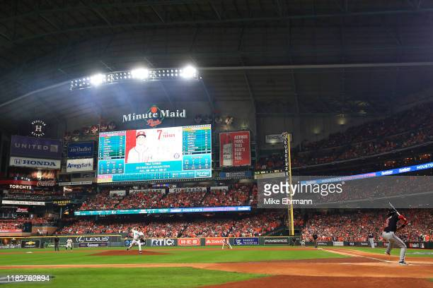 Gerrit Cole of the Houston Astros delivers the first pitch of the game to Trea Turner of the Washington Nationals during the first inning in Game One...