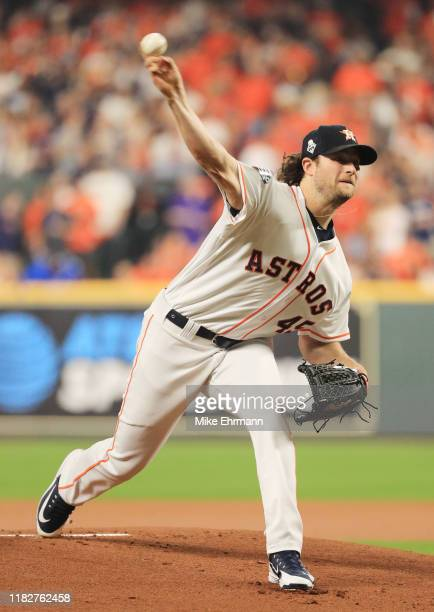 Gerrit Cole of the Houston Astros delivers the pitch against the Washington Nationals during the first inning in Game One of the 2019 World Series at...