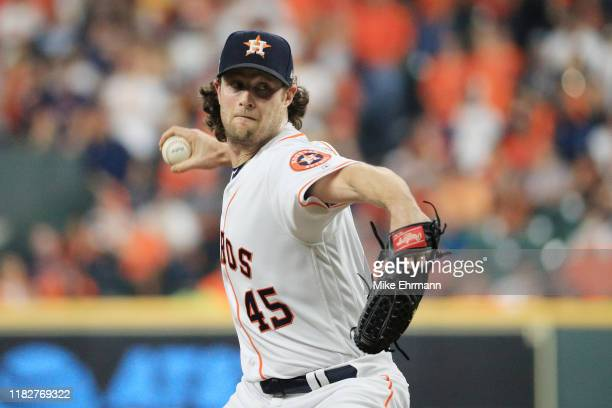Gerrit Cole of the Houston Astros delivers the pitch against the Washington Nationals during the third inning in Game One of the 2019 World Series at...