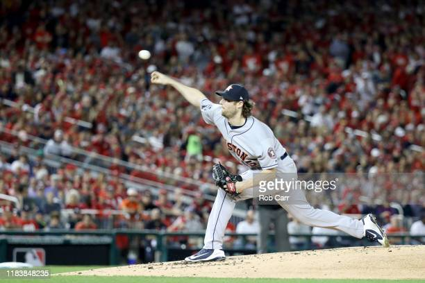 Gerrit Cole of the Houston Astros delivers the pitch against the Washington Nationals during the first inning in Game Five of the 2019 World Series...