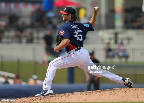 Gerrit Cole of the Houston Astros in action against the Miami Marlins during a spring training game at Fitteam Ballpark of the Palm Beaches on March...