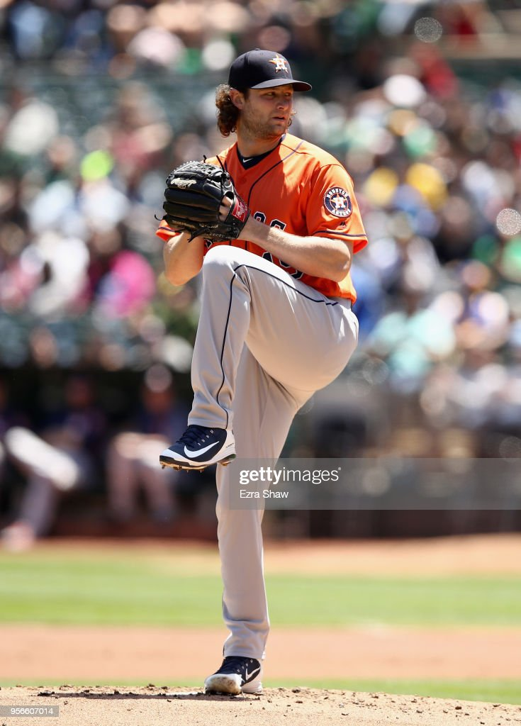 Gerrit Cole #45 of the Houston Astros pitches against the Oakland Athletics in the first inning at Oakland Alameda Coliseum on May 9, 2018 in Oakland, California.