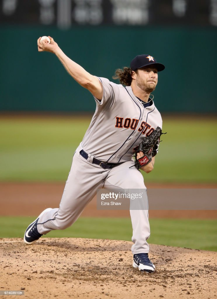 Gerrit Cole #45 of the Houston Astros pitches against the Oakland Athletics in the second inning at Oakland Alameda Coliseum on June 13, 2018 in Oakland, California.