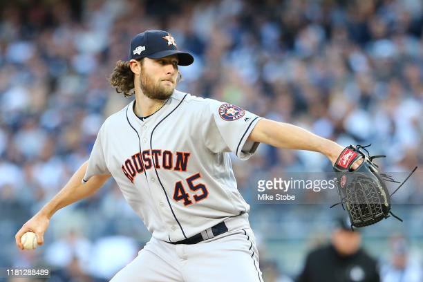 Gerrit Cole of the Houston Astros pitches during the second inning against the New York Yankees in game three of the American League Championship...