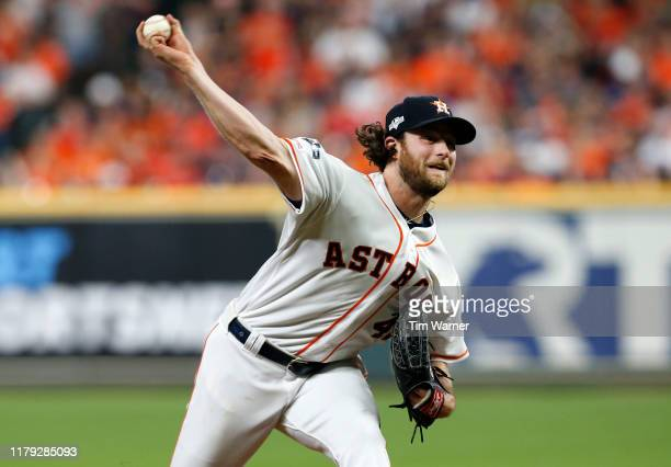Gerrit Cole of the Houston Astros pitches in the eighth inning of Game 2 of the ALDS against the Tampa Bay Rays at Minute Maid Park on October 05...