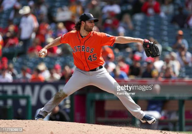 Gerrit Cole of the Houston Astros pitches in the fifth inning against the Los Angeles Angels of Anaheim at Angel Stadium of Anaheim on September 29...